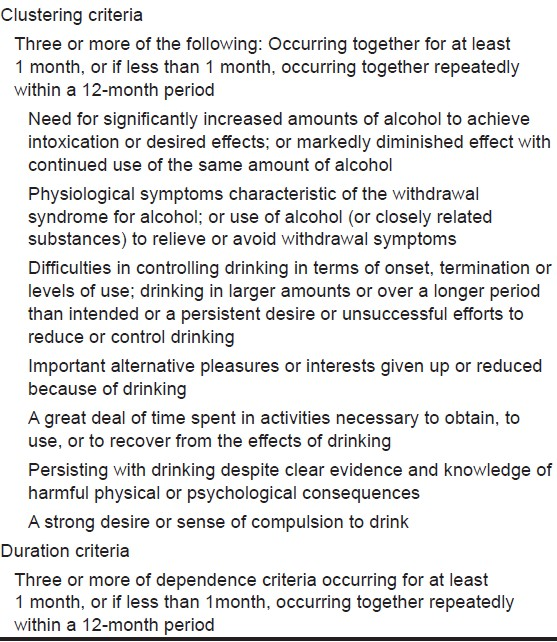 alcohol abuse icd 10 guidelines