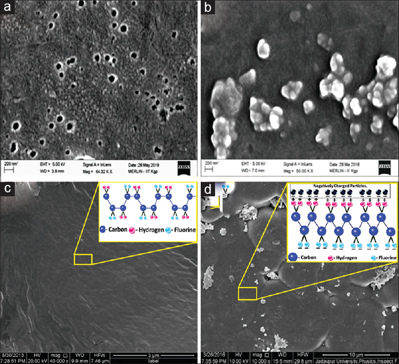 Figure 6: Field emission scanning electron microscope microstructural overview for Set B of poly (vinylidene fluoride-co-hexafluoropropylene) doped <i>Cup. met.</i>(a) 30C, (b) 200C and (c) microstructure of poly (vinylidene fluoride-co-hexafluoropropylene) doped <i>Cup. met.</i> of 200C and the crystal structure of α-polymorph (inset graph) and (d) microstructure of <i>Cup. met.</i> of 200C embedded poly (vinylidene fluoride-co-hexafluoropropylene) and the crystal structure of β-polymorph (inset graph).<sup>[22]</sup> 6C is the starting material both for Set A and Set B and is not shown separately