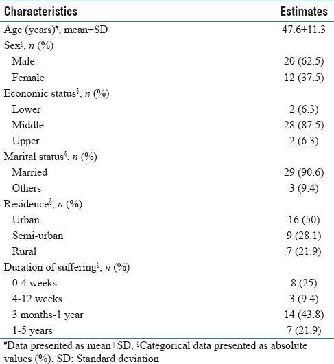 Table 1: Sociodemographic profile of the patients (<i>n</i>=32)